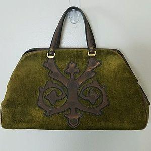 Vintage Unmarked Handmade Green Doctor Style Bag